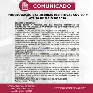 Niterói prorroga Medida de restrições até 20 de maio